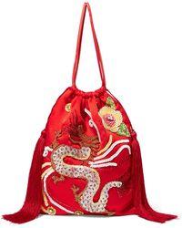 Attico - Tasseled Embellished Satin Pouch - Lyst