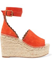 Chloé - Lauren Scalloped Suede Espadrille Wedge Sandals - Lyst