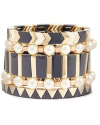Roxanne Assoulin Suit Up Set Of Five Gold-tone, Enamel And Faux Pearl Bracelets - Black