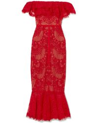 Notte by Marchesa - Off-the-shoulder Ruffled Corded Lace Midi Dress - Lyst