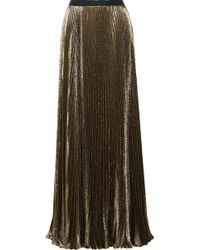 Reem Acra - Sunburst Pleated Metallic Silk-blend Maxi Skirt - Lyst