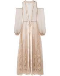 I.D Sarrieri | Mystère De Minuit Satin-trimmed Metallic Embroidered Tulle Robe | Lyst