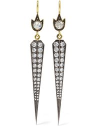 Sylva & Cie - 18-karat Gold, Sterling Silver And Diamond Earrings Gold One Size - Lyst