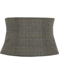 Tibi - Chester Checked Wool Corset - Lyst