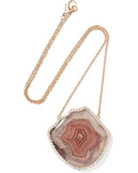 Kimberly Mcdonald | 18-karat Rose Gold, Geode And Diamond Necklace | Lyst