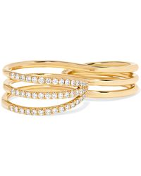 Melissa Kaye - 18-karat Gold Diamond Two-finger Ring - Lyst