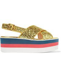 Gucci - Glittered Leather Platform Sandals - Lyst