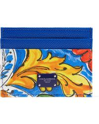 Dolce & Gabbana - Maiolica Printed Textured-leather Cardholder - Lyst