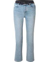 Alexander Wang - Cult Duo Layered Distressed High-rise Straight-leg Jeans - Lyst