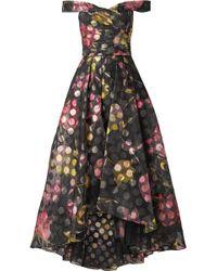 Marchesa notte - Off-the-shoulder Floral-print Fil Coupé Organza Gown - Lyst