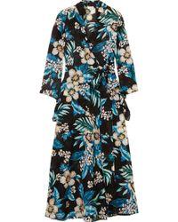 Diane von Furstenberg - Floral-print Cotton And Silk-blend Wrap Dress - Lyst