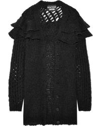Boutique Moschino - Oversized Ruffled Knitted Cardigan - Lyst