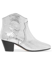 Isabel Marant - Dicker Metallic Cracked-leather Ankle Boots - Lyst