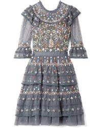 Needle & Thread - Paradise Tiered Embroidered Tulle Dress - Lyst