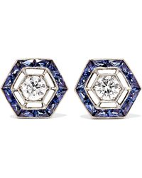 Fred Leighton - Collection 18-karat White Gold, Sapphire And Diamond Earrings - Lyst