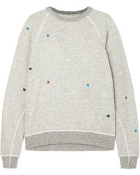 The Great - The College Embroidered Distressed Slub Cotton-blend Jersey Sweatshirt - Lyst