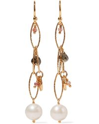 Chan Luu - Gold-plated, Pyrite And Pearl Earrings Gold One Size - Lyst
