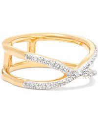 Monica Vinader - Riva Wave Cross Gold Vermeil Diamond Ring - Lyst