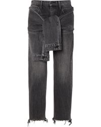 Alexander Wang - Tie-front Frayed High-rise Straight-leg Jeans - Lyst
