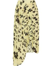 Preen Line - Yuna Ruffled Shirred Floral-print Georgette Midi Skirt - Lyst