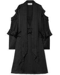By Malene Birger - Alberto Cold-shoulder Ruffled Satin Mini Dress - Lyst