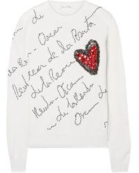 Oscar de la Renta - Embellished Merino Wool Jumper - Lyst