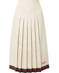 Gucci - Pleated Embroidered Linen And Silk-blend Midi Skirt - Lyst