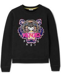 KENZO Sweatshirt Aus Baumwoll-jersey Mit Stickerei - Schwarz