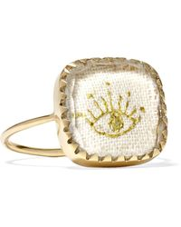 Pascale Monvoisin - Blossom N°2 9-karat Gold, Cotton And Glass Ring - Lyst