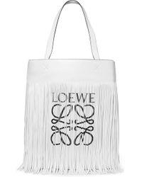 Loewe - Fringed Printed Leather Tote - Lyst