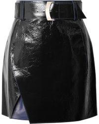 Mugler - Glossed-leather Mini Skirt - Lyst