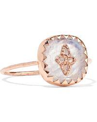 Pascale Monvoisin - Pierrot 9-karat Rose Gold, Moonstone And Diamond Ring - Lyst