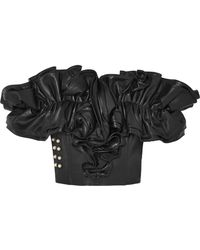 Rodarte - Embellished Ruffled Leather Bustier Top - Lyst