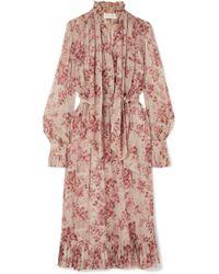 Zimmermann - Unbridled Pussy-bow Floral-print Silk-georgette Midi Dress - Lyst