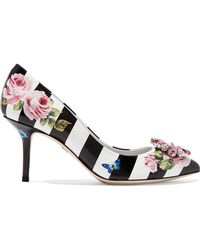 Dolce & Gabbana - Crystal-embellished Printed Patent-leather Court Shoes - Lyst