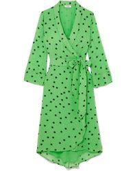 Ganni - Polka-dot Georgette Wrap Dress - Lyst
