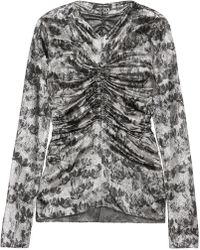 Isabel Marant - Diego Ruched Floral-print Stretch Silk-blend Top - Lyst
