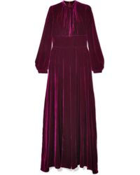 Raquel Diniz - Alma Pleated Silk-velvet Maxi Dress - Lyst