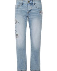 Current/Elliott - The Crossover Embroidered Mid-rise Straight-leg Jeans - Lyst