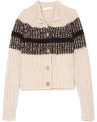 Chloé - Striped Ribbed Wool-blend Cardigan - Lyst