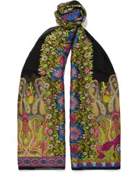 Etro - Embroidered Crepon Scarf - Lyst