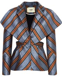 Fendi - Cutout Striped Satin-jacquard Blazer - Lyst