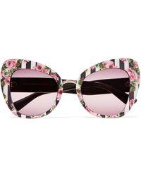 Dolce & Gabbana - Cat-eye Printed Acetate Sunglasses - Lyst