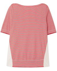 Moncler - Twist Striped Cotton And Satin-shell Top - Lyst