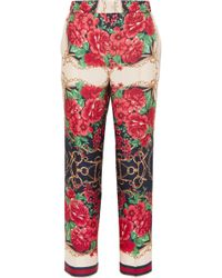 Gucci - Cropped Printed Silk-twill Wide-leg Trousers - Lyst