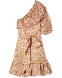 Lisa Marie Fernandez - Arden Ruffled One-shoulder Floral-print Linen Mini Dress - Lyst