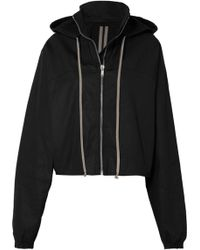 Rick Owens - Cropped Hooded Cotton-canvas Jacket - Lyst
