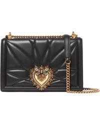 c79651f929d9 Dolce   Gabbana - Devotion Embellished Quilted Leather Shoulder Bag - Lyst