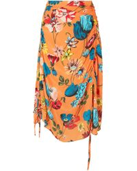 House of Holland - Ruched Floral-print Crepe De Chine Midi Skirt - Lyst