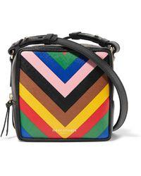 Sara Battaglia - Cube Striped Textured-leather Shoulder Bag - Lyst